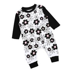 76c64b6ec2 Cute newborn baby girls floral romper cotton outfit Romper Outfit