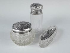Antique c1900 Group 3 English Cut Glass Sterling Silver Tops Vanity Jars in Pottery & Glass, Glass, Glassware, Cut Glass, Other Cut Glass   eBay