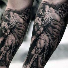 Realistic 3d Guys Hercules Inner Forearm Sleeve Tattoo Ideas #polynesiantattoosforearm