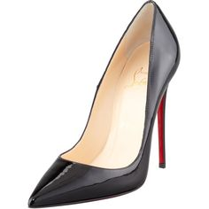 """Reach new heights with the Christian Louboutin """"So Kate"""" pump-a seemingly classic shape with a saucy stiletto heel and leg-lifting elevated pitch. Metallic pat…"""