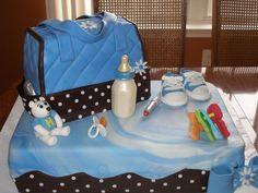 I made this for my pastor and his wifes baby shower. Diaper bag is chocolate cake with mocha filling, covered in Fondarific. Baby Shower Cakes For Boys, Baby Shower Fun, Baby Shower Parties, Diaper Shower, Baby Shower Diapers, Pretty Cakes, Cute Cakes, Occasion Cakes, Cupcake Cakes