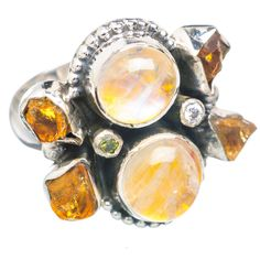 Yellow Rainbow Moonstone, Citrine 925 Sterling Silver Ring Size 7.25 RING736711