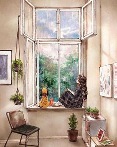 Korean artist Aeppol has found inspiration in living alone in nature with the most loyal life companion - her dog - to create the Forest Girl character. Art Anime Fille, Anime Art Girl, Forest Illustration, Cute Illustration, Forest Girl, Korean Artist, Aesthetic Art, Aesthetic Drawings, Cute Drawings