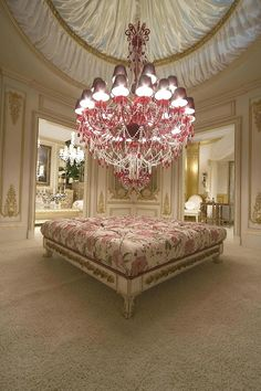 French Shabby Chic Style: Part 3 - Lighting including Palais Garnier, Rachel Ashwell chandeliers & other shabby chic lighting ideas for your wedding & home Pink Chandelier, Chandelier Bedroom, Ceiling Chandelier, Bedroom Lighting, Decoration Ikea, Sweet Home, Design Living Room, Luxury Closet, Design Furniture