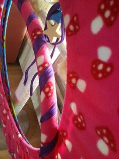 Customized Fabric Hula Hoop & Hooping bag. ( Mushroom print Fleece Pink )