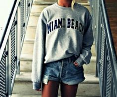 Miami beach gray crewneck and shorts :)
