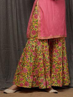 Pink Rayon Kurta with Green Hand Block Printed Cotton Sharara and Dupatta- Set of 3 Sharara Designs, Kurti Neck Designs, Kurti Designs Party Wear, Blouse Designs, Stylish Dresses For Girls, Stylish Dress Designs, Designs For Dresses, Designer Party Wear Dresses, Indian Designer Outfits