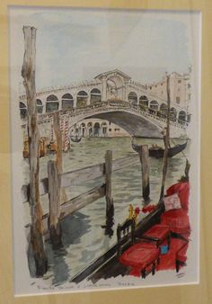 Rialto Bridge, Grand Canal, Venice. By Thomsa hoehn, watercolor painted from a personal photograph.