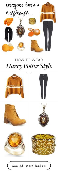 """Everyone Loves a Hufflepuff"" by shannonparnell on Polyvore featuring Wallis, Timberland, Alkemie, Angélique de Paris, Topshop, Isabel Marant, Eos, Stila, harrypotter and Hufflepuff"