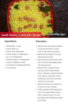 South Indian Lemon rice is one of the easiest and mouth-watering rice dish. South Indian Lemon Rice Recipe, South Indian Food, Cookbook Recipes, Rice Recipes, Cooking Recipes, Taste Recipe, Savoury Rice Recipe, Indian Dessert Recipes