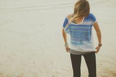 Tee-shirt femme Océan de la marque 64 des Pyrénées Atlantiques