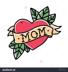 Resultado de imagen para old school mom heart tattoo