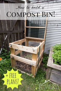How To Build A DIY Compost Bin + Free Plans & Cut List! This DIY compost bin is sturdy, easy to open, has good airflow, and latches closed to keep out critters! Free plans + full tutorial here! Outdoor Projects, Garden Projects, Diy Projects, Woodworking Projects, Diy Jardim, Faire Son Compost, Garden Compost, Diy Compost Bin, Outdoor Compost Bin