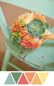 succulent bouquet, green, orange, mint, and yellow - this color palette Colour Schemes, Color Combos, Vintage Color Schemes, Bouquet Succulent, Bouquet Flowers, Silk Flowers, Mint Bouquet, Spring Bouquet, Palette Verte