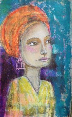 pride woman, Portrait of a woman, Acrylic painting, Mixed Media Art, Benedicte 2014
