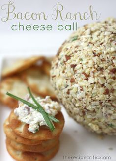 Bacon Ranch Cheese Ball - I'm not a huge cheese ball fan unless it's a sweet dessert cheese ball, but this one sounds really good.  I'd use regular bacon instead of turkey bacon though.