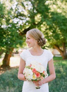 Modest lace wedding dress, square neck cap sleeves. Dress: Avonlea /