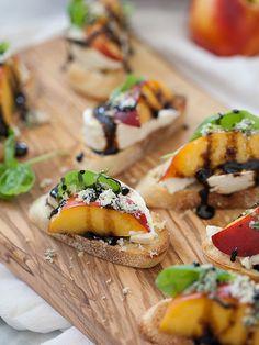 A perfect summer app: Nectarine and Wisconsin Burrata Bite Crostini | foodiecrush.com