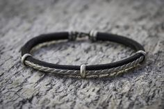 Viking Leather Bracelet by BarakaCrafts on Etsy Viking Culture, Viking Bracelet, Silver Ornaments, Nickel Silver, Tribal Jewelry, Leather Cord, Vikings, Celtic, Unisex