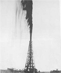 """❖ January 10, 1901 ❖ On this day, a drilling derrick at Spindletop Hill near Beaumont, Texas, produces an enormous gusher of crude oil, coating the landscape for hundreds of feet and signaling the advent of the American oil industry. Beaumont became a """"black gold"""" boomtown, its population tripling in three months. The town filled up with oil workers, investors, merchants and con men (leading some people to dub it """"Swindletop"""")."""