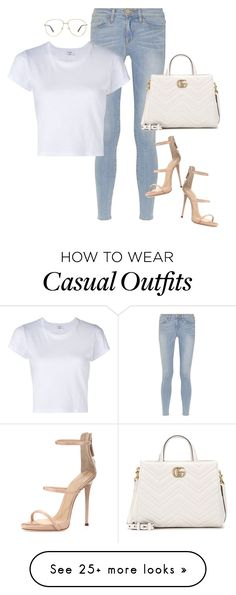 """Casual"" by mullaqueen on Polyvore featuring Gucci, Frame, RE/DONE and Giuseppe Zanotti"