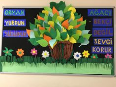 Orman Haftası (1.Sınıflar Panosu) Rainbow Bulletin Boards, Spring Bulletin Boards, Preschool Bulletin Boards, Preschool Classroom Decor, Preschool Learning, Learning Activities, Valentines Day Decorations, Valentines Diy, Valentine's Day Diy