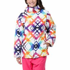Get prepped and ready for some serious powder with the wild and spacey Palisade jacket from Empyre Girl. A white and multiple colored tipsey printed shell, soft fleece lining, 10k waterproofing and insulation throughout ensure a super chic and warm snowboarding experience. This snowboarding jacket has a standard fit perfect for over layers. With two front zipper pockets, a full zipper and Velcro closure the Palisade snowboarding jacket is ready to hit the mountain in style.