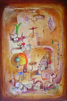 Título: Invento para subir   Autor: Alvaro Galindo Vácha   Dimensiones: 60 x 40 cm   Técnica: Acrílico sobre tela   Año: 2005   Firmado: Revés