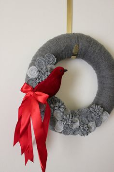 Another gorgeous one! Red Bird Wreath Gray Yarn and Felt  12 inch by TheBakersDaughter,