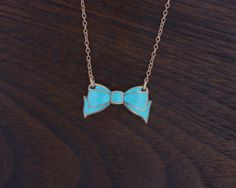 Glass Enamel Bow Necklace