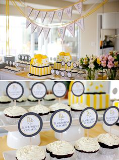 "bumble bee color theme... ""B is for Baby"" shower.  Could modify for boy or girl.  I like the neutrality of yellow."