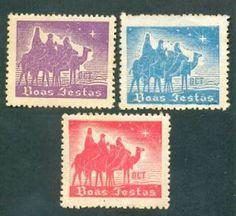 """ANOS DOURADOS: IMAGENS & FATOS: IMAGENS - Velharia: Selo Postal Alguns selos com motivos natalinos, para os que apreciam (ou não) a filatelia. Observar, nos mais antigos, a sigla """"DCT"""", que significava Departamento dos Correios e Telégrafos (a autarquia federal que cuidava o serviço postal no Brasil). Ele existiu até 1969, quando foi criada a atual Empresa Brasileira de Correios e Telégrafos-ECT. NATAL DE 1946"""