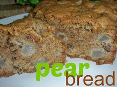 Pear bread- subbed in 1 cup whole wheat flour; cut sugar to 1 1/2 c; increased to 3 cup pear; did one jar baby sweet potatoes and cut oil to 1/2 cup
