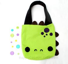 Dinosaur Tote Bag - Schoolbag, Backpack, Bookbag, Reusable Bag, Beach Bag, Colorful Handmade Tote, Women's Tote, Christmas Gift