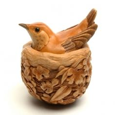 "Susan Wraight - Nest, 2012  Netsuke, hand-carved & stained boxwood, buffalo horn. Signed on an inset tablet.  Height 5.5cm (2 1/8) Width 4.5cm (1 3/4"") Depth 4cm (1 1/2"")"