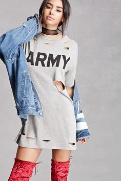 "A midweight French terry knit graphic tee featuring a raw-cut distressed front, an ""Army"" chest graphic, dropped short sleeves, and a round neckline. This is an independent brand and not a Forever 21 branded item."