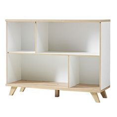 Ohio Shelving Unit In White And Solid Oak With 4 Shelf eatures: •Ohio White And Oak Finish Shelving Unit •Solid Oak And MDF With White Fronts Finish •Robust ABS edging  •4 Shelf  •2 Large And 2 Small Shelf •Wooden Handles •Wooden Legs #furnitureinfashion #displaysideboard
