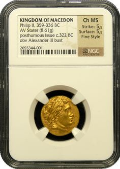 Kingdom of Macedon Philip II Gold Stater, NGC, Choice Mint State, Strike 5/5, Surface 5/5, Fine Style - Issued over 2,300 years ago, this is a very rare gold stater issued by Phillip III, stepbrother of Alexander the Great and son of Philip II of Macedon. Philip III struck this after the death of Alexander in honor of their father. He used the same imagery on this coin in 322 B.C. that Philip used in roughly 350 B.C.Find more coins like this one at www.ancientgoldcoins.com.