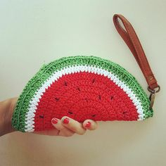 Ravelry: Watermelon crochet coin purse pattern by Fabiana Canu Purse Patterns Free, Coin Purse Pattern, Crochet Coin Purse, Crochet Purse Patterns, Crochet Pouch, Crochet Purses, Crochet Handbags, Free Pattern, Pouch Pattern