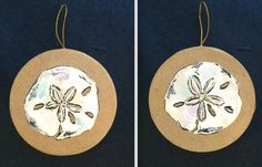 A hand painted original ornament featuring a Sand Dollar on each side. It has been painted on a #Crafts #Paper Mache Round Ornament. #cashwellcreations #art #painting
