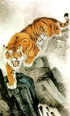 Tiger - A Chinese Painting. Chinese Tiger, Japanese Tiger, Chinese Art, Japanese Art, Chinese Style, Big Cats Art, Cat Art, Bastet, Tiger Painting