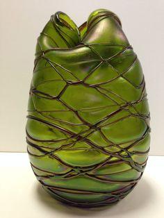 Unusua Tri-fold Loetz Art Nouveau Glass Vase Threaded Veined Spider Web Applique