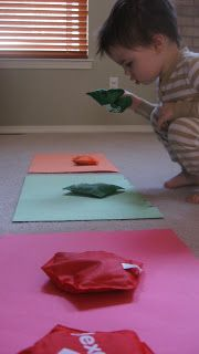 Gross Motor Color Match for Toddlers. The only way I could get colours to stick with my over active 2 yrs old!