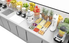 Necker by The Goort Juice Bar Interior, Juice Cafe, Salad Shop, Home Bar Essentials, Juice Bar Design, Juice Store, Cafe Shop Design, Coffee Artwork, Smoothie Shop