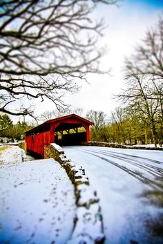 Not quite snow covered covered bridge, North Little Rock, Arkansas, US