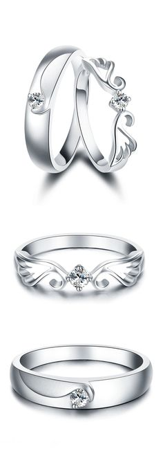 Matching Set for Couples, Sterling Silver + CZ Diamond, Lovely Gifts