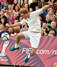 Sporty gear:Captaining the local team, the ginger-haired gentleman sported an all-white ensemble for the match