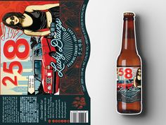 258 Lager Beer Bottle Label A beer label design, hand-drawn via Wacom Tablet using Adobe Photoshop and Illustrator for Lucky Dawgs Brewing Company, based in North Point, Hong Kong.  graphic design, illustration, brew, booze, alcohol, craft brewery, China, Chinese, Mandarin, millennial, female, girl, sunglasses, black clothing