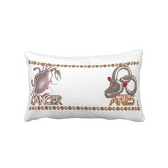 Cancer Aries zodiac astrology by valxart.com Throw Pillow Valxart.com astrology art is available for everyone on hundreds of products that you can customize . See us on pinterest.com/valxart  or Contact info@valx.us for help finding or making the perfect friendship gift from Valxart