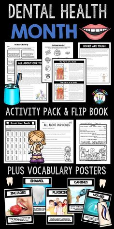 Celebrate Dental Health Month with this fun resource. This unit has informational articles and related activities all about our bones, teeth, and the parts of a tooth. There are lots of comprehension and connections activities, vocabulary posters, and a 5-page flip book!